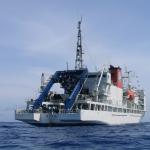 The research vessel Yokosuka shot from a zodiac boat