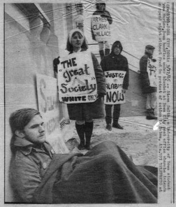 Stephen Lynn Smith at a protest