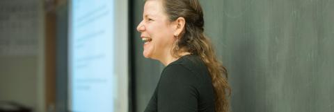 Professor Naomi Greyser teaching a class