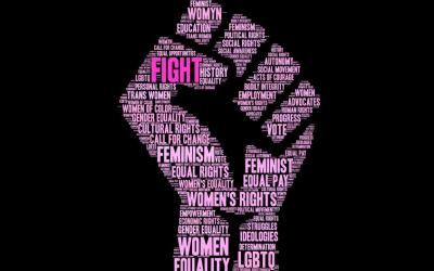 Word Cloud in the shape of a fist made of keywords relating to Women's rights.