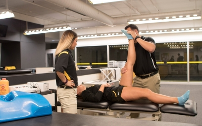 Students in athletic training room.