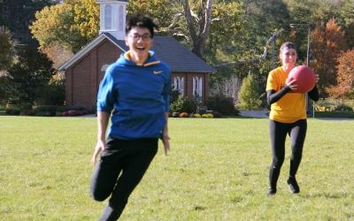 Students exercising at Hubbard Park