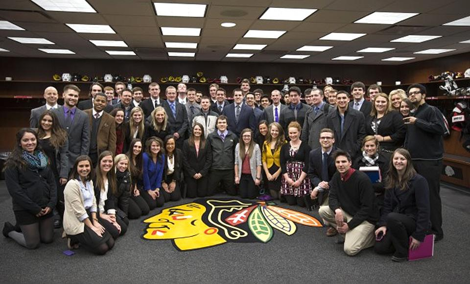 University of Iowa students in the Recreation and Sport Business track toured the United Center and went behind-the-scenes in the Chicago Blackhawks locker room. Photo provided by the Chicago Blackhawks.