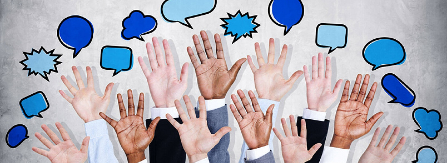 collage of hands being raised with cartoon speech bubbles above them