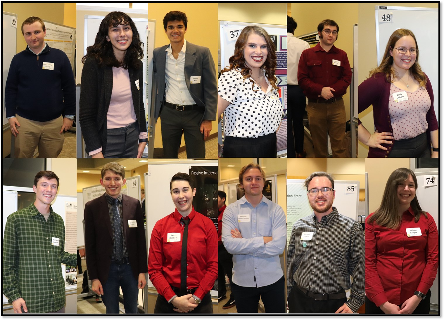 Images of all 12 students in Fall Undergraduate Research Center.