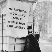 Historical photograph of suffragette.
