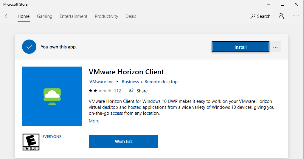 Screenshot of installing the VMWare View client end-user license agreement