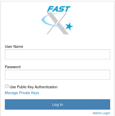 Screenshot of the FastX user login screen