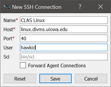 Screenshot of a new SSH connection in the FastX program