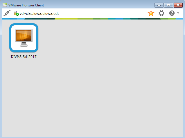 Screenshot of installing the VMWare View client choose connection