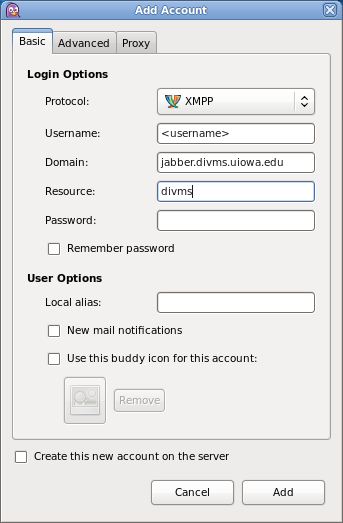 Screenshot of the Add Account screen in the Pidgin client with the XMPP protocol.