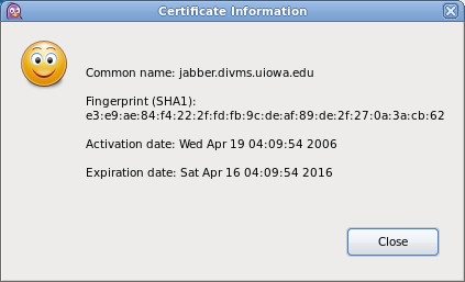 Screenshot of the Certificate Information screen in the Pidgin Client.