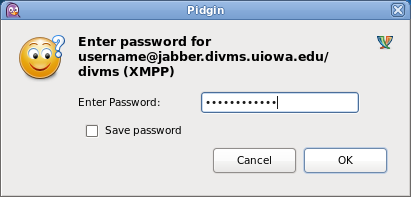 Screenshot of the password prompt in the Pidgin Client.