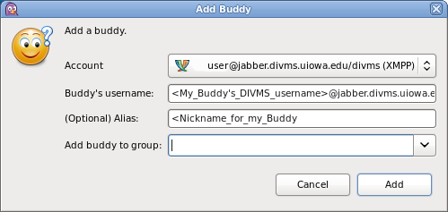 Screenshot of the Add Buddy screen in the Pidgin Client.