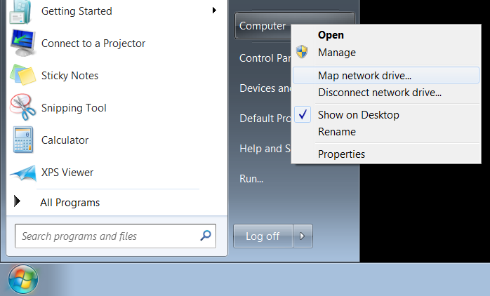 Map Network Drive in Windows 7