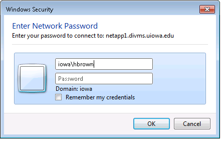 Enter network credentials popup in Windows 7.