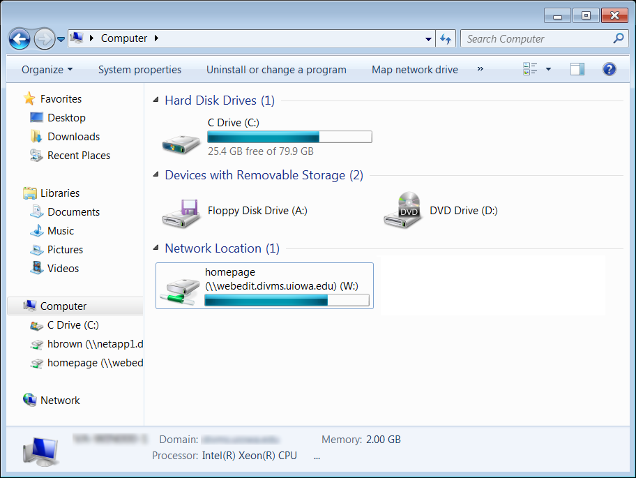 New network drive location found under My Computer in Windows 7.