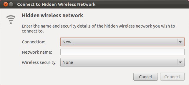 Screenshot of the Connect to Hidden Wireless Network screen