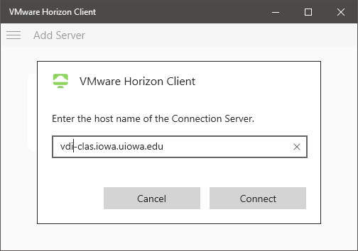 Screenshot of installing the VMWare View client name of new server