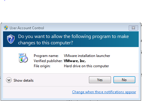 Screenshot of installing the VMWare View client and allow changes