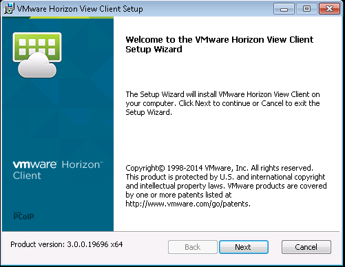 Screenshot of installing the VMWare View client setup wizard