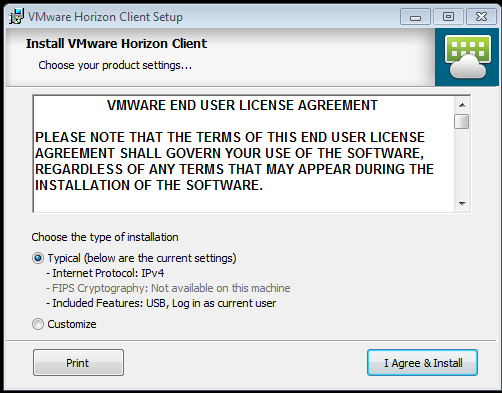 Screenshot of installing the VMWare View client choosing installation type