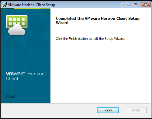 Screenshot of installing the VMWare View client installation complete
