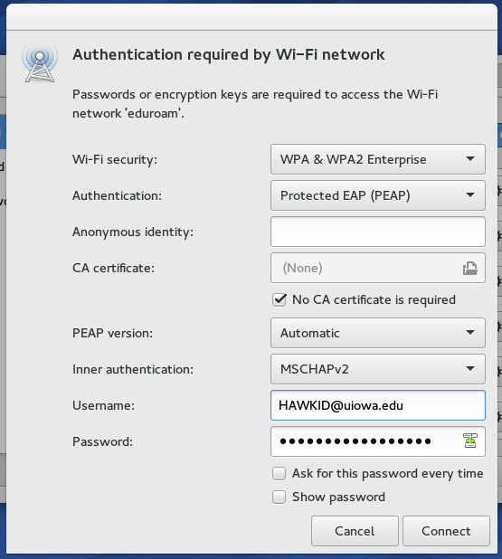 Screenshot of wireless network configuration instructions