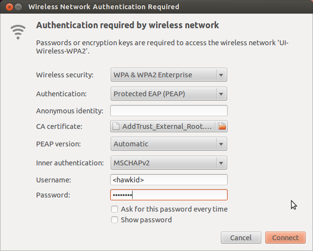 Screenshot of the Wireless Access Instructions for Ubuntu 12.04