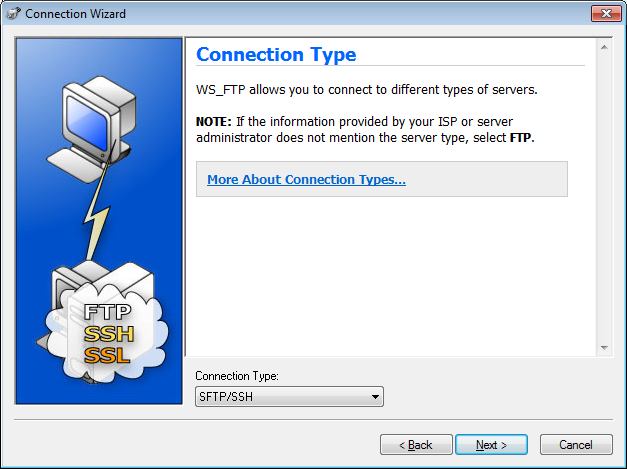 Screenshot of the WS FTP Pro Connection Wizard Connection Type screen