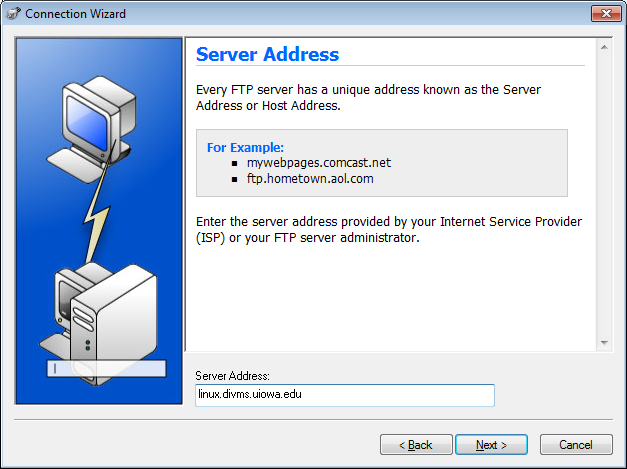 Screenshot of the WS FTP Pro Connection Wizard Server Address screen