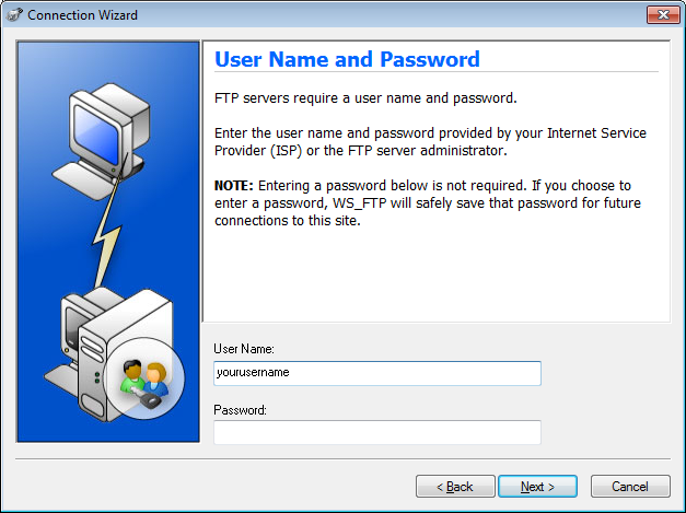 Screenshot of the WS FTP Pro Connection Wizard User Name and Password screen