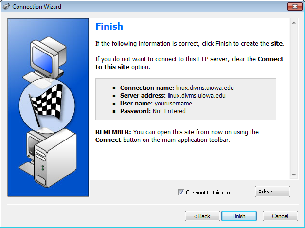 Screenshot of the WS FTP Pro Connection Wizard Finish screen