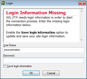 Screenshot of the WS FTP Pro Connection Wizard Login Information Missing screen