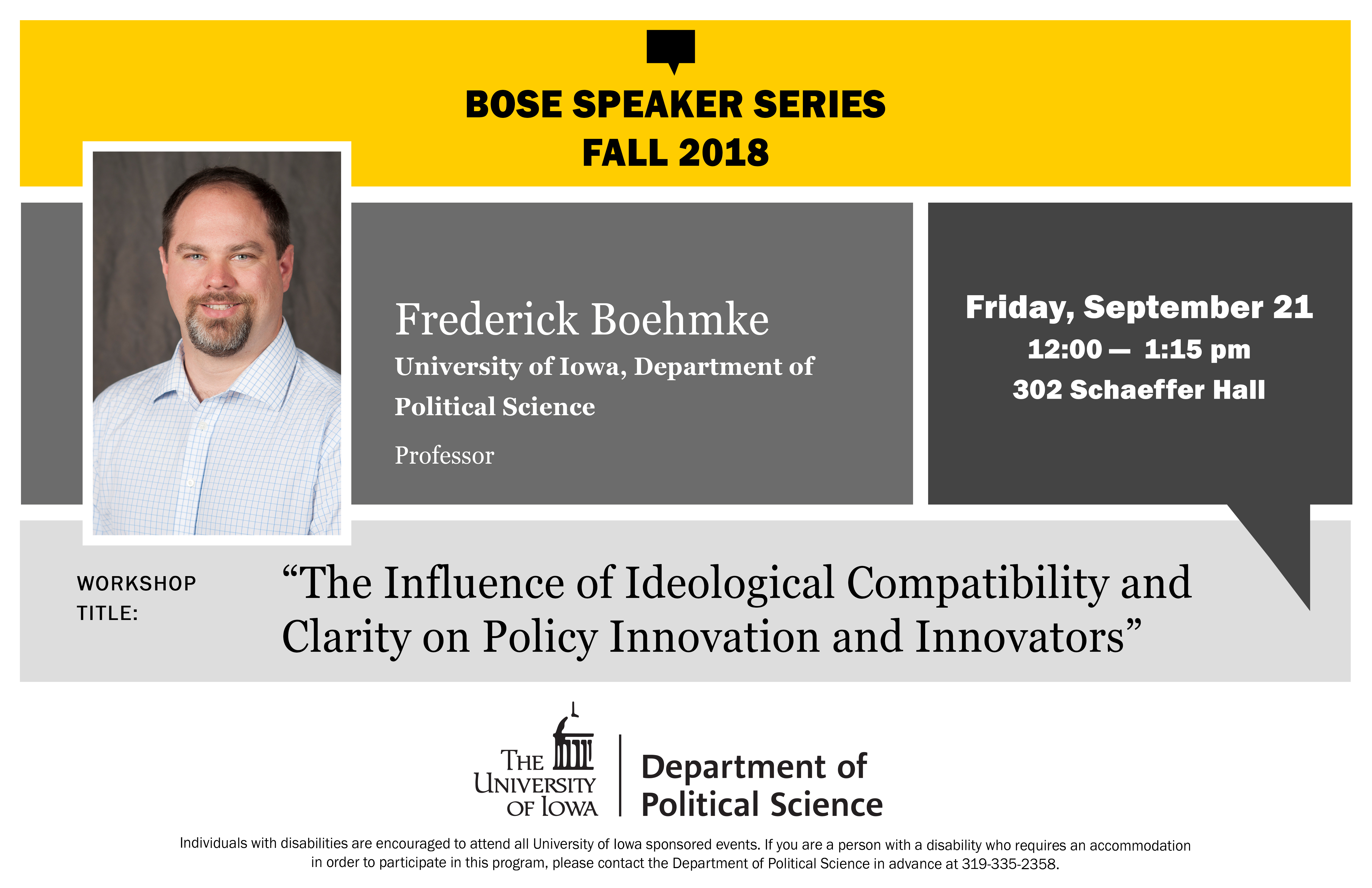Fred Boehmke Bose Speaker Series Flyer