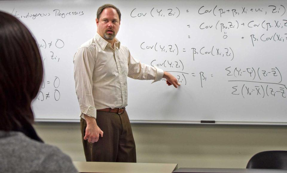 A professor teaching a class