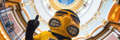 Photo of Herky at the Iowa Capitol
