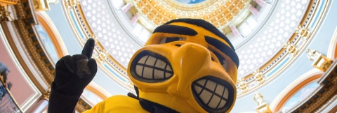 Herky at Hawkeye Caucus