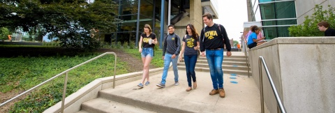 honors students walking on campus