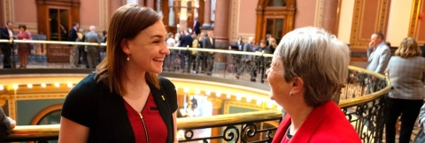 internships photo student speaking with rep at State Capitol