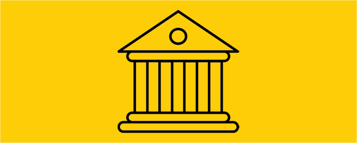 Black and gold University building icon.