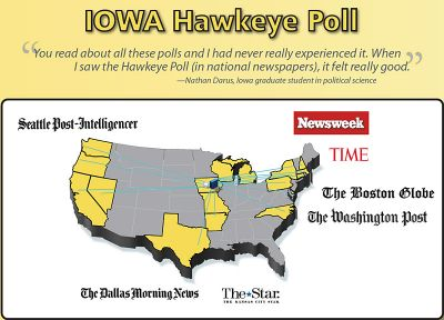Hawkeye Poll poster with student quote