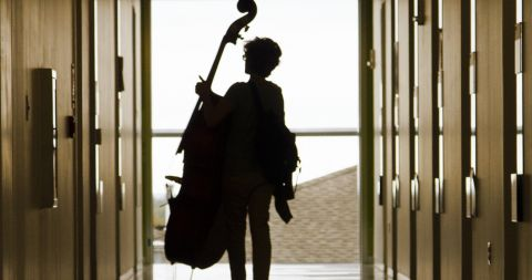 silhouette of student with double bass