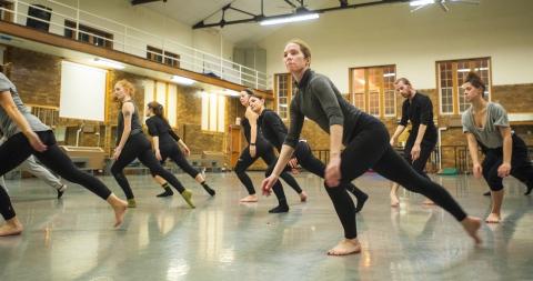 dancers in class performing