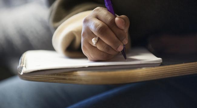 student hand writing