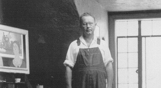 Grant Wood in his Turner Alley studio