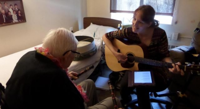 music therapist and patient