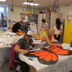 Students making butterfly wings