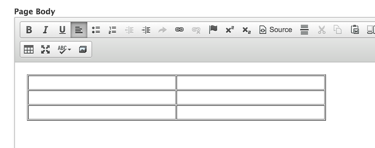 Table in editor view