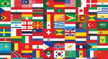 Collage of international flags